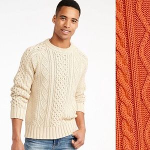 L.L. Bean Signature Cotton Linen Classic Fisherman Knit Sweater